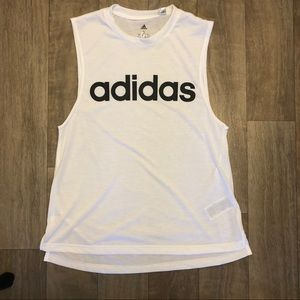 Adidas white sleeveless logo t-shirt. Size S